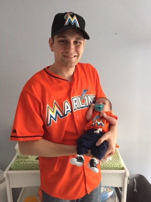 Scott the Marlins Fan with his new Growth Chart