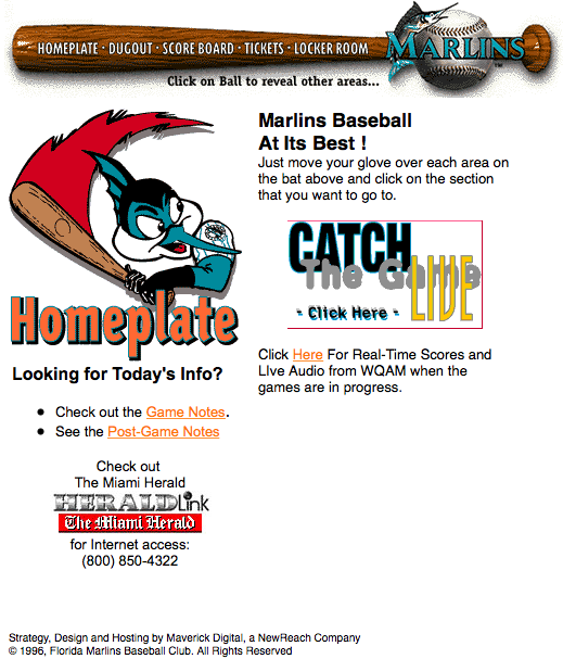 Marlins Website in 1996 - Miami Marlins - Florida Marlins