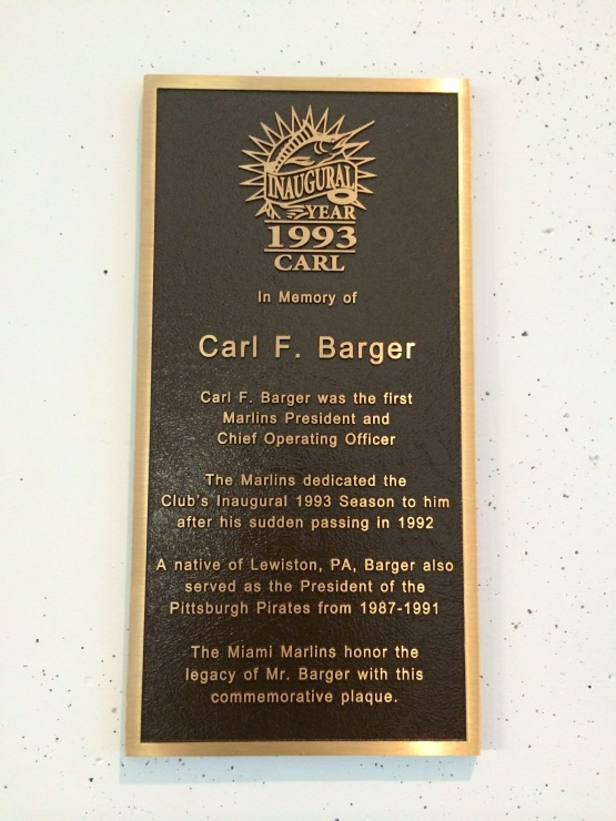 Carl F Barger Plaque - Marlins Park - Marlins